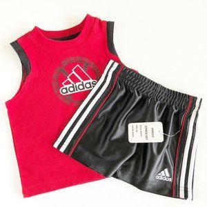 Adidas Toddler Short Set Black Red 2 Piece Set 6M